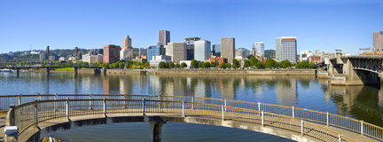 Portland Oregon Downtown Skyline Panorama 2 Royalty Free Stock Photos