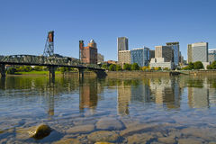 Portland Oregon Downtown Skyline Reflection 2 Stock Images