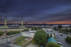 Portland Oregon Downtown Skyline at Sunset Royalty Free Stock Photos