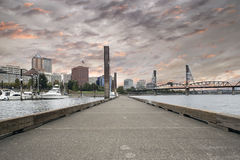 Portland Oregon Downtown Skyline at Sunset Royalty Free Stock Image