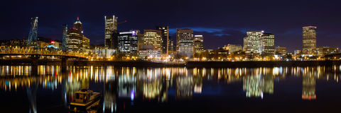 Portland Oregon Downtown Waterfront at Dusk Stock Images