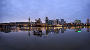 Portland Oregon Downtown Waterfront at Dusk Royalty Free Stock Photo