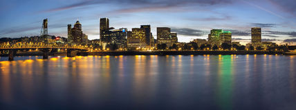 Portland Oregon Downtown Waterfront Skyline at Blue Hour Stock Photo