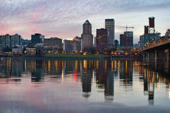 Portland Oregon Downtown Waterfront Skyline Sunset Royalty Free Stock Photography