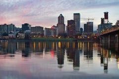 Portland Oregon Downtown Waterfront Skyline Sunset Royalty Free Stock Photography