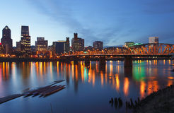 Portland Oregon at dusk. Portland Oregon and the Hawthorne bridge light before darkness Stock Images