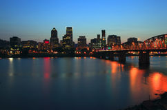 Portland Oregon at dusk. Royalty Free Stock Images