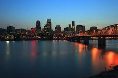 Portland Oregon at dusk. Royalty Free Stock Images