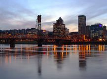 Portland Oregon at dusk. Royalty Free Stock Photography