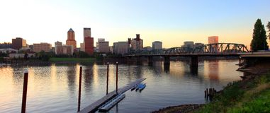 Portland Oregon at dusk a glowing light. Royalty Free Stock Images
