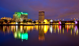 Portland Oregon at dusk - Morrison bridge Royalty Free Stock Photo
