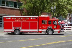 Fire Department Heavy Rescue Emergency Vehicle. Portland, Oregon, Fire Department Heavy Rescue Emergency Vehicle stock photo