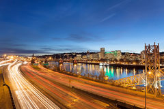 Portland Oregon Freeway Light Trails Royalty Free Stock Photography