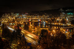 Portland Oregon Freeways and Skyline - wide Stock Photography