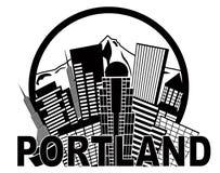 Portland Oregon horisont Mt Hood Black och vit Il Arkivfoto