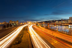 Portland Oregon Interstate Freeway Light Trails Stock Images