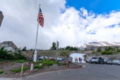 Timberline Lodge & Ski and Snowboard Area at Mt. Hood, Oregon. Portland, Oregon - June 17, 2018 : Timberline Lodge & Ski and Snowboard Area at Mt. Hood, Oregon stock photography