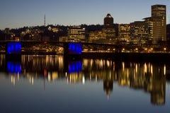 Portland Oregon Morrison bridge. Morrison Bridger, downtown Portland Oregon at Dusk Stock Images