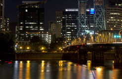 Portland Oregon Morrison Bridge Going In To City stock photography