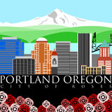 Portland Oregon Mount Hood with Colors Royalty Free Stock Photo