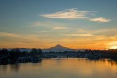 Portland Oregon Mt Hood Columbia River Sunrise. PDX Slough i5 Vancouver Washington Jantzen Beach Royalty Free Stock Photo