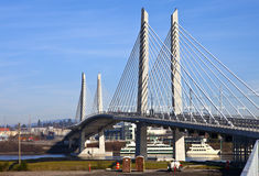 Portland Oregon new railcar and pedestrian bridge. Stock Photo
