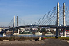 Portland Oregon new railcar and pedestrian bridge. Stock Images