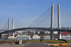 Portland Oregon new railcar and pedestrian bridge. Royalty Free Stock Photos