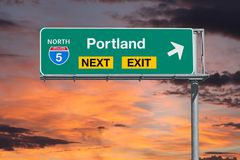 Portland Route 5 Next Exit Freeway Sign with Sunset Sky Stock Photos