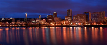 Portland Oregon night skyline Stock Photos