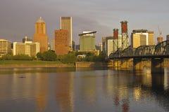 Portland Oregon in ochtendlicht Royalty-vrije Stock Foto