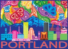 Portland City Skyline and Mount Hood Color Paisley vector Illustration. Portland Oregon Outline Silhouette with City Skyline with Mount Hood Colorful Paisley royalty free illustration