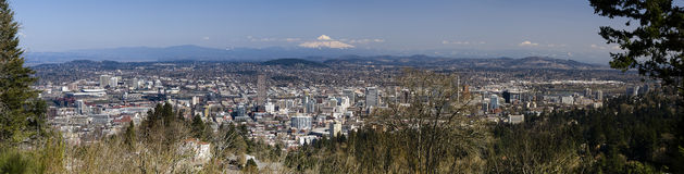 Portland, Oregon Panorama. View from pittock mansion.  Mt. Hood in the background Royalty Free Stock Photos
