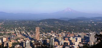 Portland Oregon Panorama. Portland Oregon panorama looking the East side of the city with mount Hood on the background Stock Photo