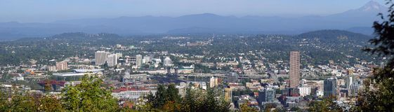 Portland Oregon Panorama.-2. Portland Oregon panorama looking the East side of the city with mount Hood on the background Stock Photography