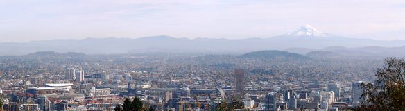 Portland Oregon Panorama.-3. Portland Oregon panorama looking the East side of the city with mount Hood on the background Stock Image
