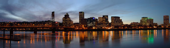 Portland Oregon Panorama at dusk. Royalty Free Stock Images