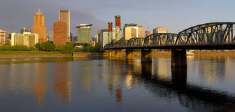 Portland Oregon panorama in morning light. Stock Image