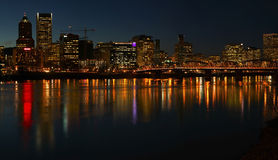 Portland Oregon panorama at night. Stock Images