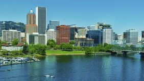 Portland Oregon`s westside skyline and the Willamette River Royalty Free Stock Images