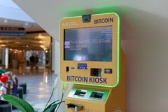 Bitcoin ATM in pioneer place, Shopping mall in Portland. Portland, Oregon - Sep 8, 2018 : Bitcoin ATM in pioneer place, Shopping mall in Portland royalty free stock photography