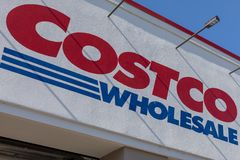 Costco Wholesale storefront. Costco Wholesale Corporation is largest membership-only warehouse club in US.