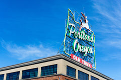 Portland Oregon Sign. Iconic Portland, Oregon sign in downtown Portland, Oregon Royalty Free Stock Image