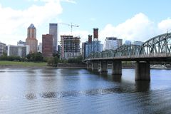 Portland, Oregon skyline across the Willamette River. View of Portland, Oregon skyline across the Willamette River royalty free stock photography