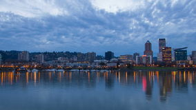 Portland Oregon Skyline at Blue Hour 1080p stock footage
