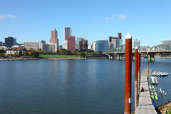 Portland Oregon skyline & bridge. Stock Photo