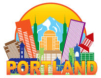 Portland Oregon Skyline Circle Color Vector Illust Royalty Free Stock Images