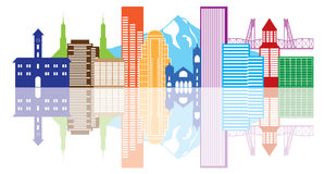 Portland Oregon Skyline Color Vector Illustration Royalty Free Stock Image