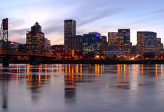 Portland Oregon skyline at dusk. Royalty Free Stock Photos