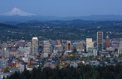 Portland Oregon skyline at dusk. Royalty Free Stock Images